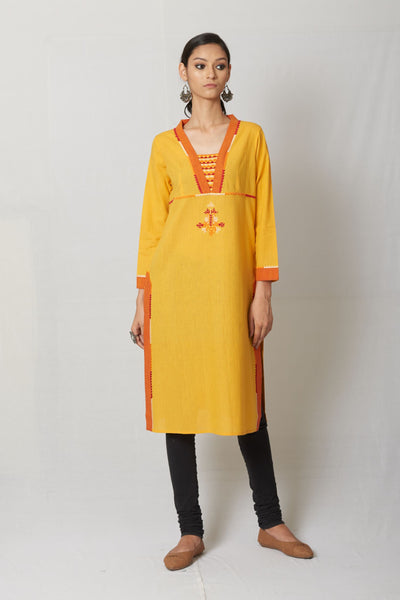 Yellow Hand Embroidered Cotton Kurta
