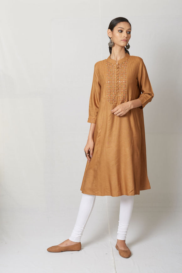 Beige Hand Embroidered Tussar Cotton Silk Kurta