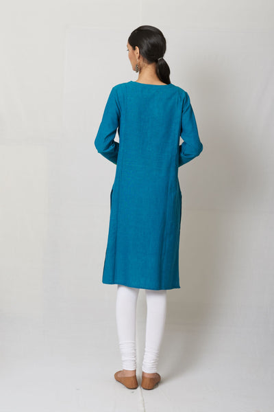 Turqoise Embroidered Woven Cotton Kurta