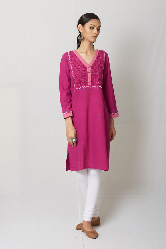 Fuchsia Embroidered Woven Cotton Kurta