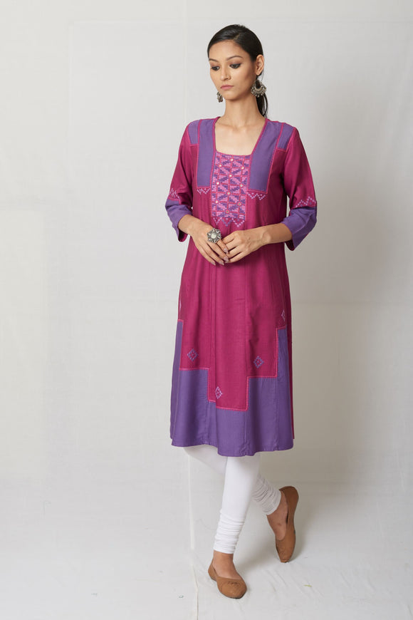 Purple Hand Embroidered Tussar Cotton Silk Kurta
