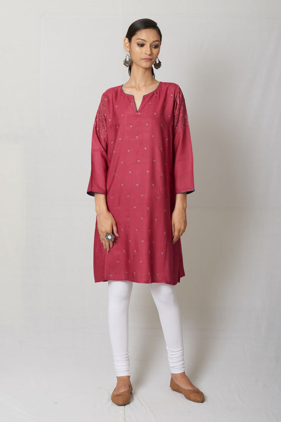 Pink Kashmiri Embroidered Tussar Cotton Silk Kurta