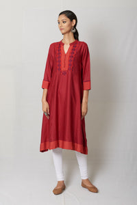 Red Hand Embroidered Tussar Cotton Silk Anarkali