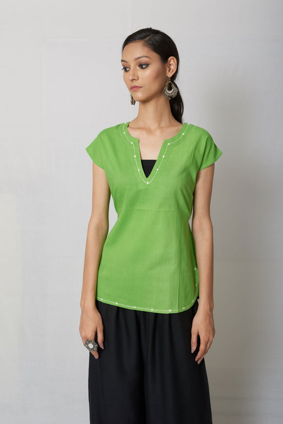 Green Hand Embroidered Cotton Top
