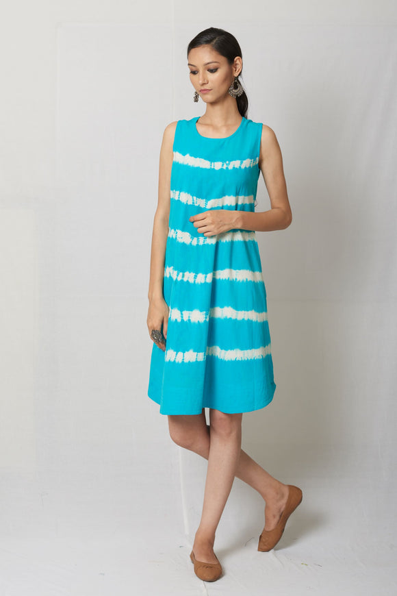 Turquoise Shibori Woven Cotton Dress