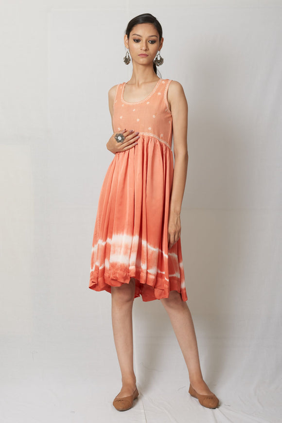 Peach Hand Embroidered Satin Dress
