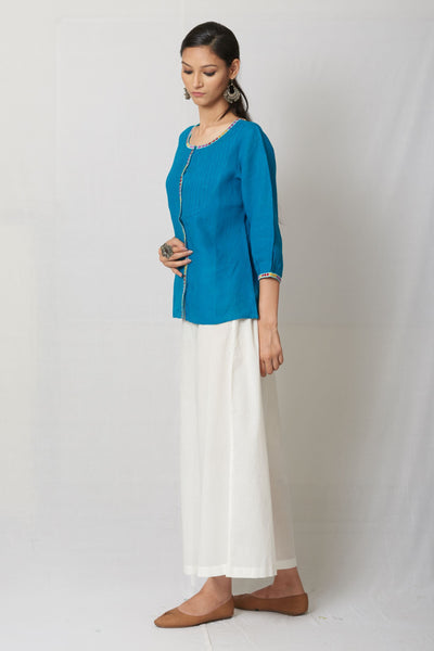 Turquoise Hand Embroidered Linen Top