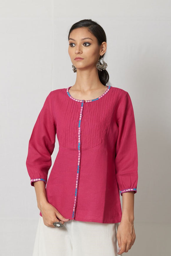 Pink Hand Embroidered Linen Top