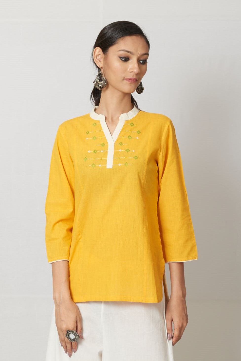 Yellow Embroidered Cotton Top