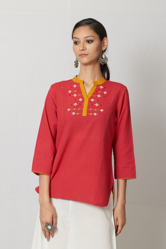 Red Embroidered Cotton Top