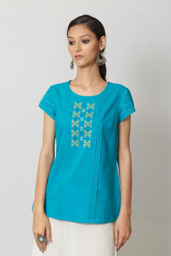 Turqoise Woven Mull Cotton Top