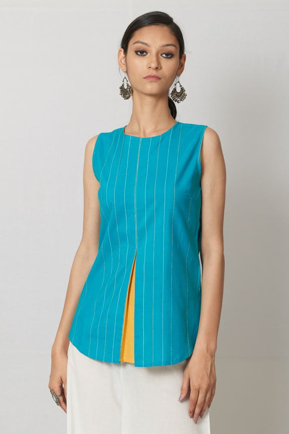 Turquoise Hand Woven Mull Top