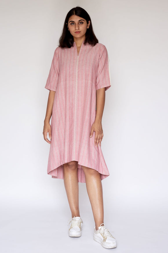 Pink Hand Embroidered Woven Asymmetric Dress