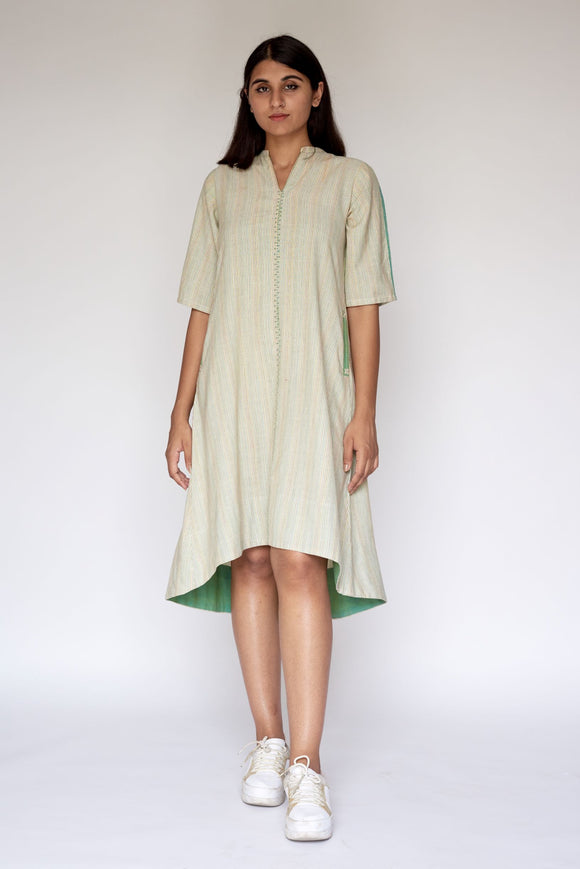 Green Hand Embroidered Woven Asymmetric Dress