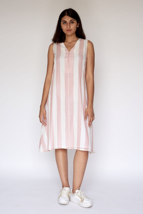 Pink Stripe Extra Weft Woven Dress