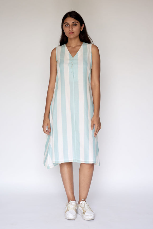 Blue Stripe Extra Weft Woven  Dress