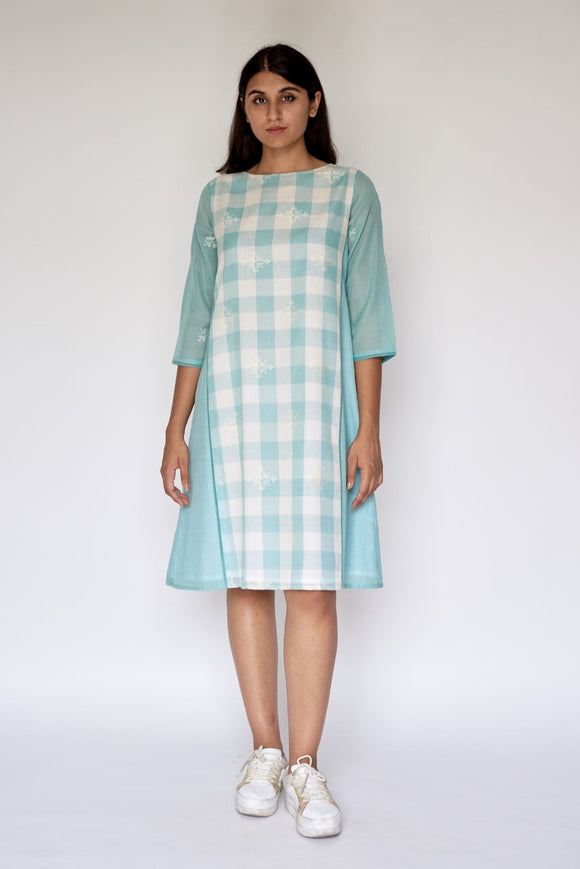 Blue Extra Weft Woven A-line Dress Cum Kurta