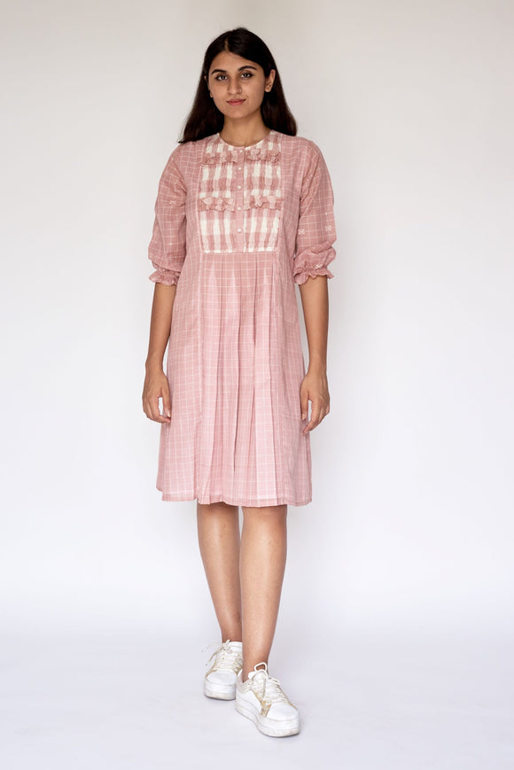 Pink Extra Weft Woven Dress