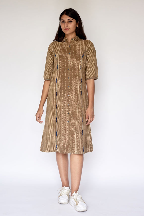 Beige Ajrakh Dabu Printed Embroidered Shirt Dress