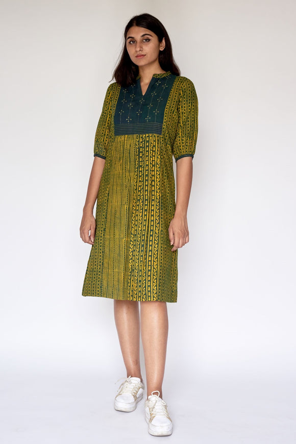 Green Ajrakh Dabu Printed Embroidered Dress