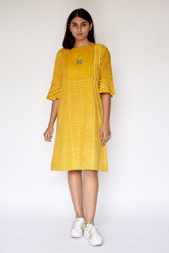 Yellow Ajrakh Dabu Printed Embroidered A-Line Dress
