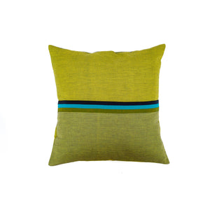 Green Stripe Hand Woven Cushion Cover