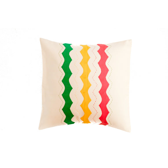 Off White Applique Embroidered Cushion Cover
