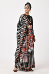 Black Hand Woven Cotton Checkered Saree