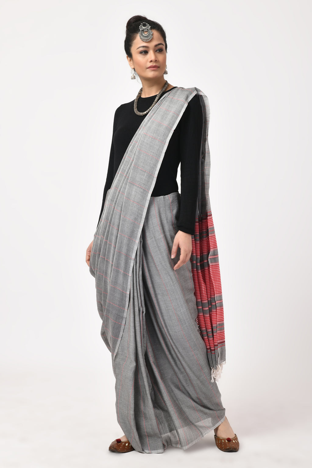 Extra Weft Gray and Pink Saree