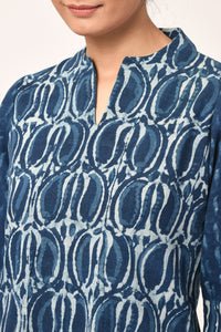 Indigo Dabu Block Print Cotton Top