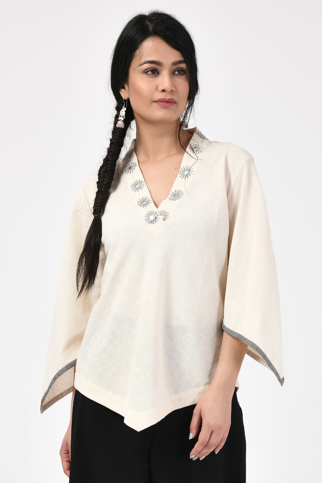 Kora Mirror Work Neck Embroidery Natural Top