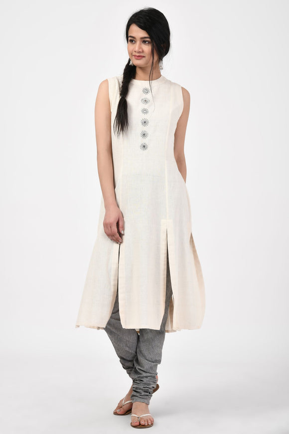 Off White Hand Woven Mirror Cotton Kurta