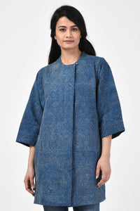 Indigo Kantha Cotton Long Jacket