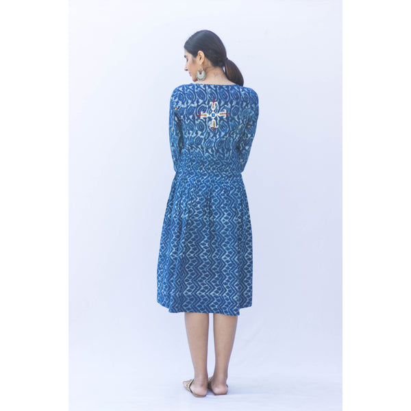 Embroidered Indigo Dabu Dress