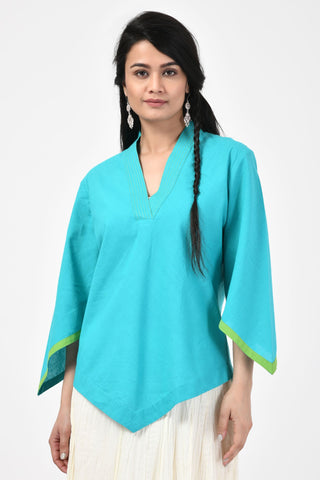 Turquoise Embroidered Mangalgiri Top