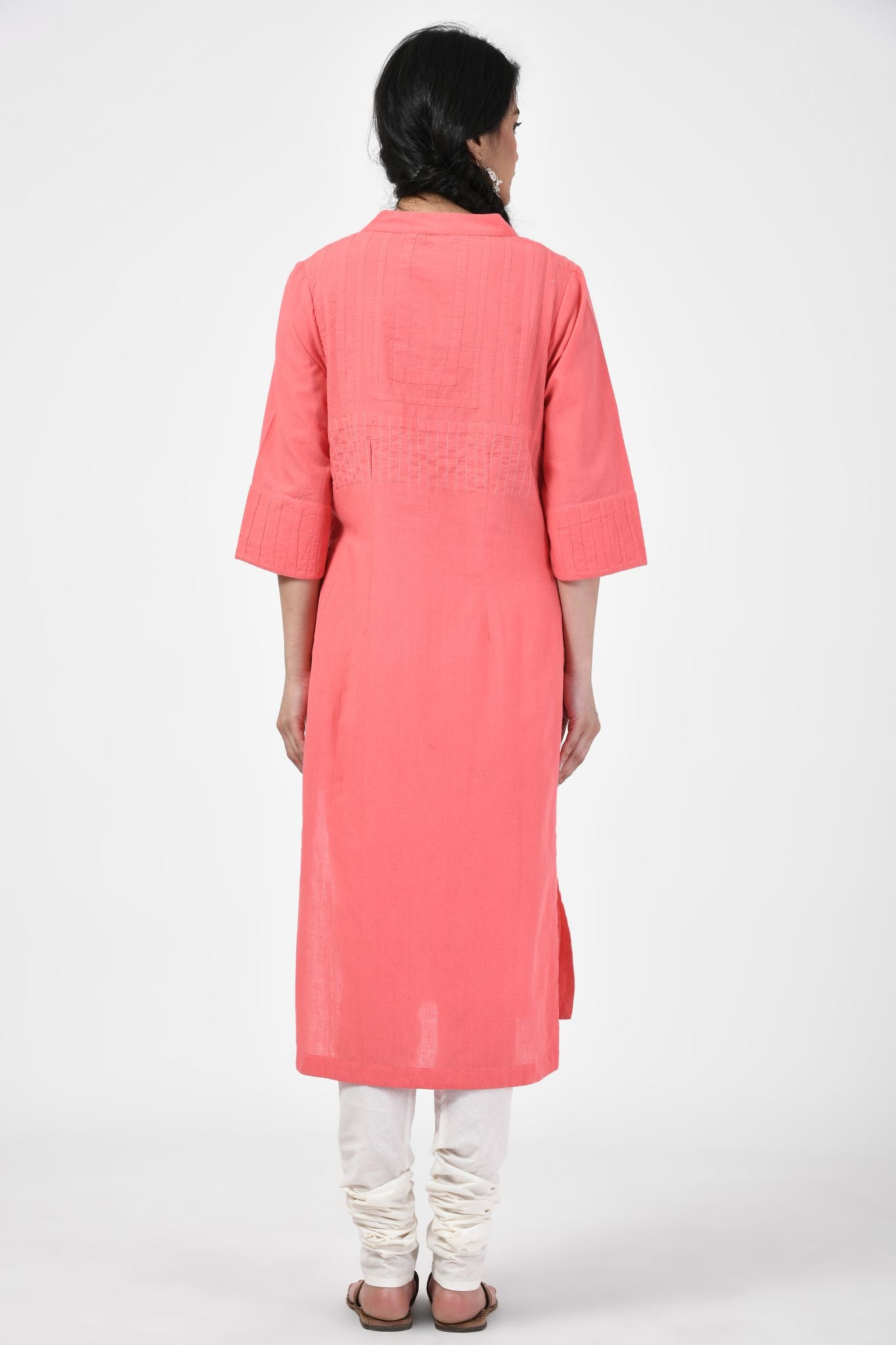 Applique Peach Kurta