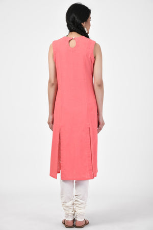 Applique Ivory Sleeveless Kurta
