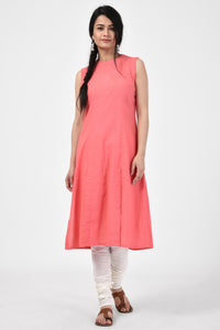 Peach Applique Cotton Kurta