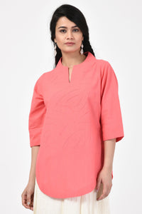 Peach Applique Cotton Top