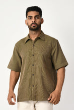 Load image into Gallery viewer, Green Handwoven Dobby Stripe Cotton Half Sleeve Shirt