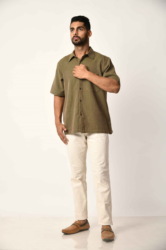 Green Handwoven Dobby Stripe Cotton Half Sleeve Shirt