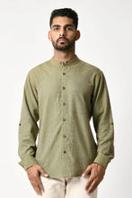 Load image into Gallery viewer, Green Handwoven Dobby Stripe Cotton Full Sleeve Shirt