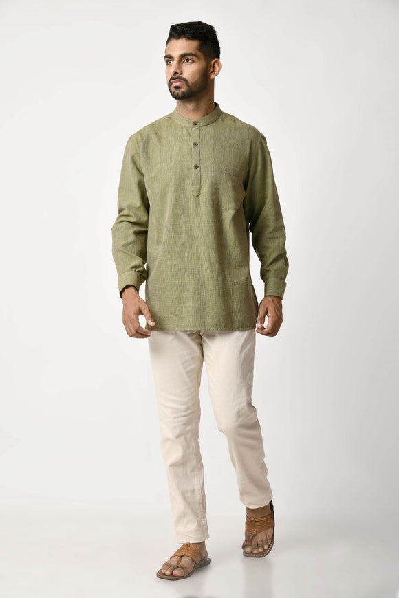 Green Handwoven Dobby Stripe Cotton Short Kurta