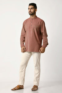 Burgundy Handwoven Dobby Stripe Cotton Short Kurta