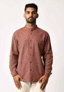 Burgundy Handwoven Dobby Stripe Cotton Full Sleeve Shirt