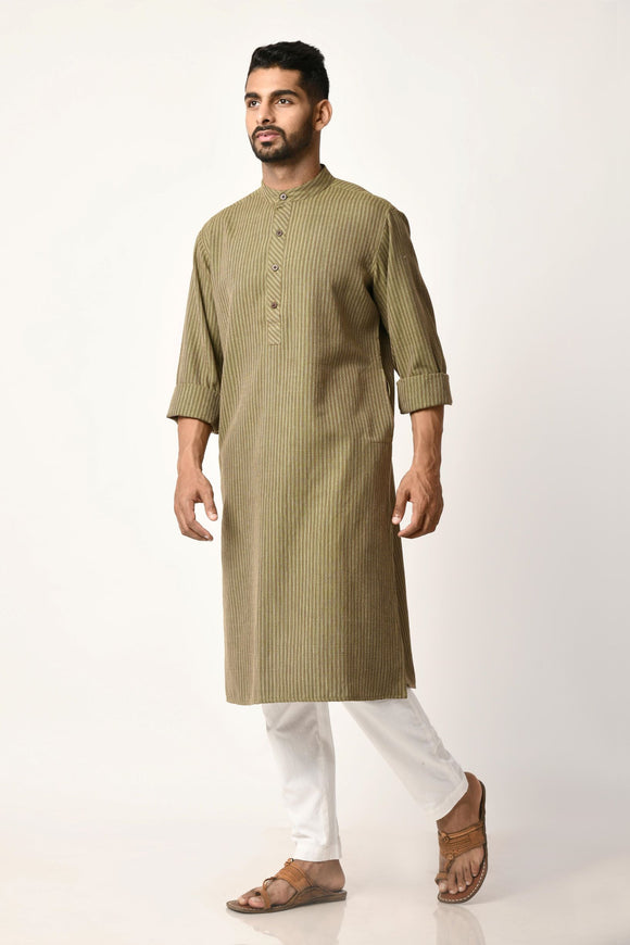 Green Handwoven Dobby Stripe Cotton Long Kurta
