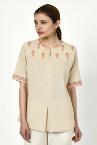 Noorbagh Top With Stitch Down Box Pleat Detailing