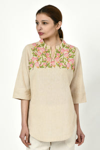 Noorbagh Top With Stand Collar