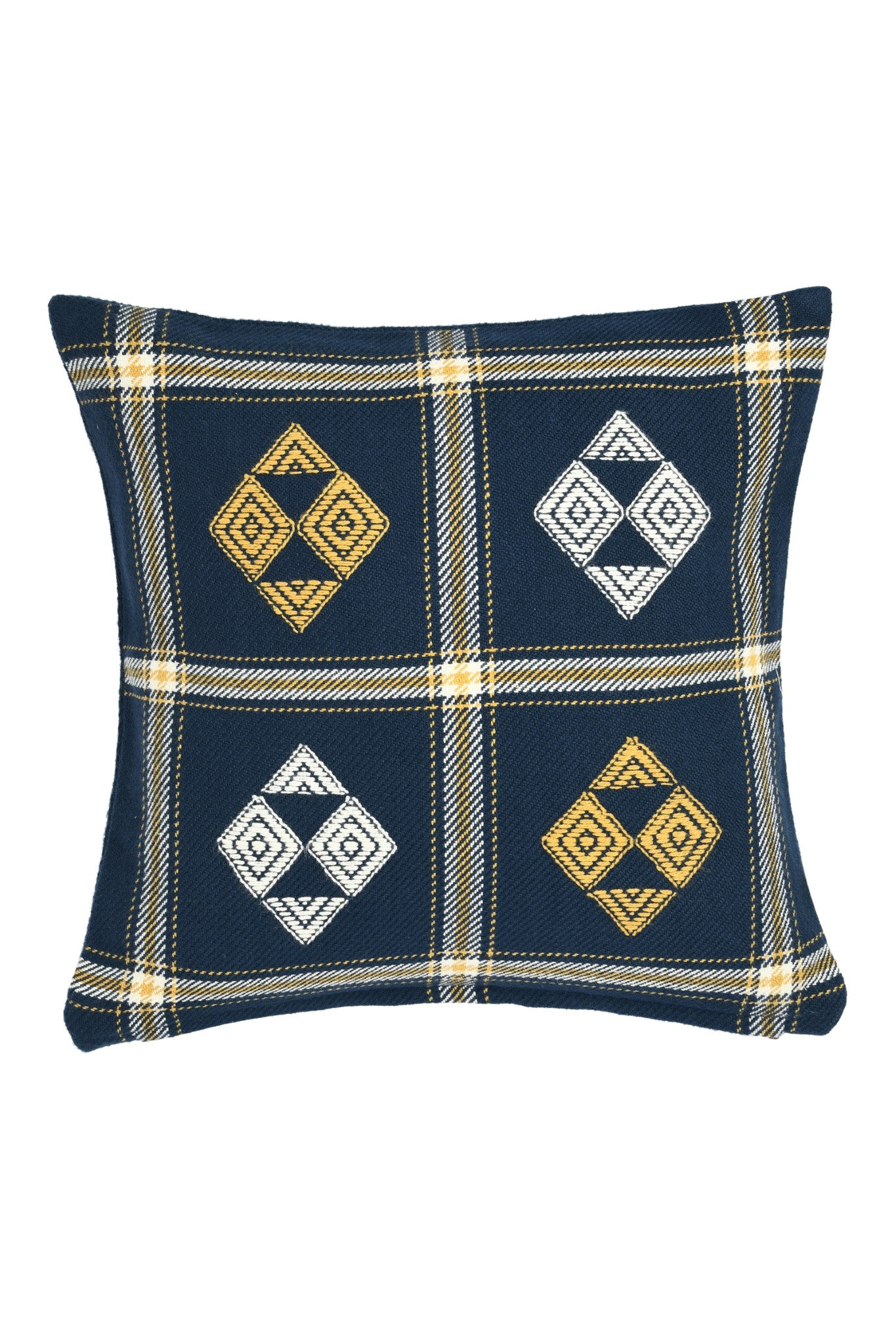 Suti Extra Weft Woven 12X12 Cushion Cover in Navy