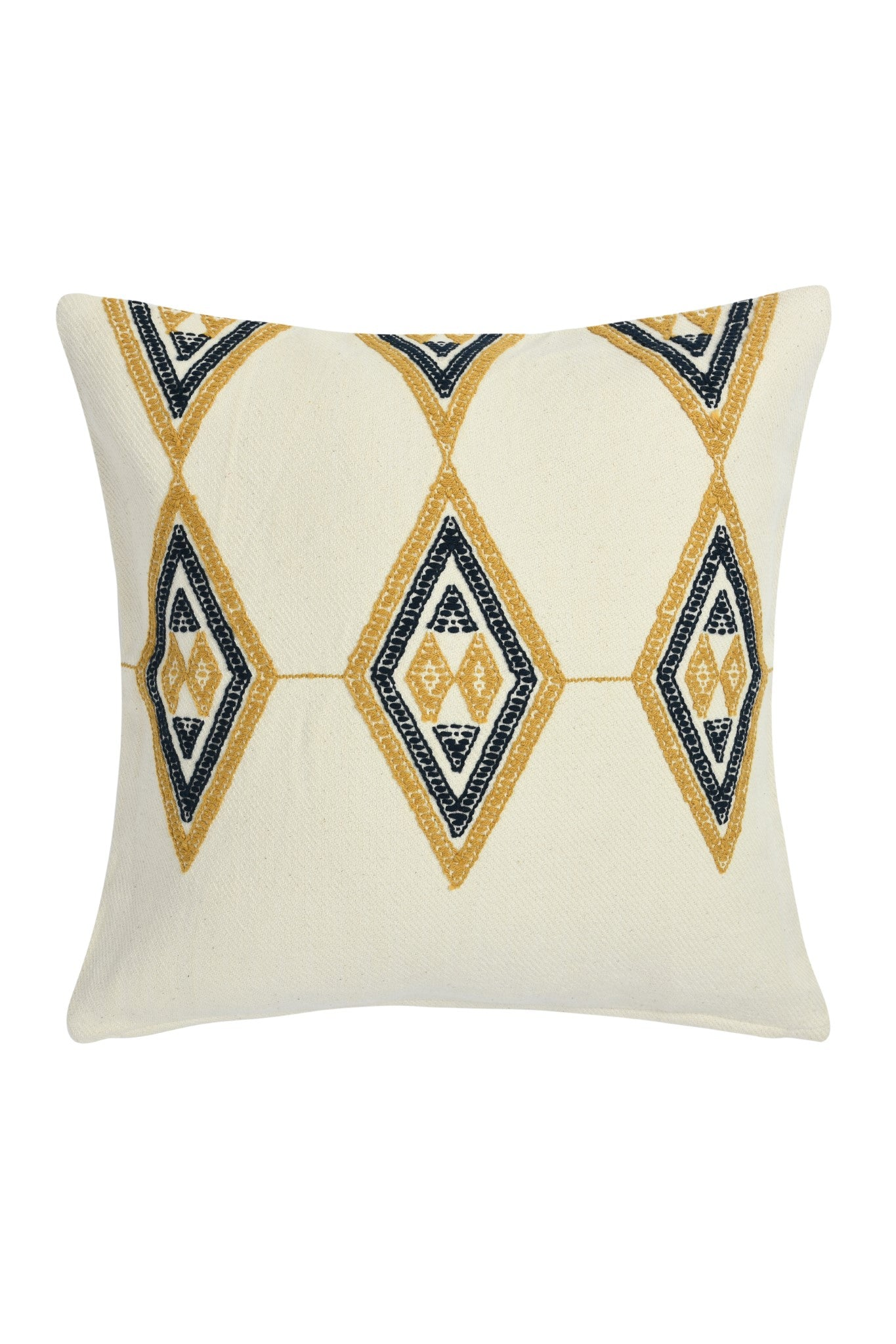 Suti Diamond Motif Extra Weft Woven 16X16 Cushion Cover in Natural Colour